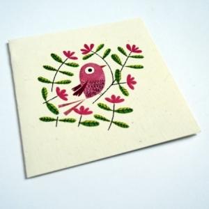 Carte Bel oiseau rose