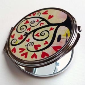 Miroir de poche Arbre à coeurs rouges