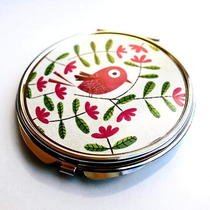 Miroir de poche Bel oiseau rose