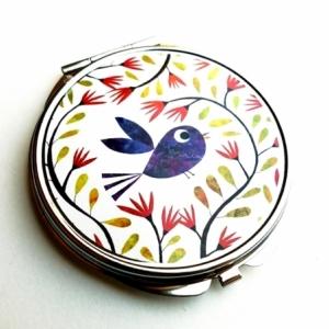 Miroir de poche Bel oiseau bleu