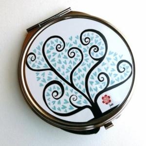 Miroir de poche Arbre à coeurs bleus