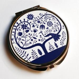 Miroir de poche Paon bleu