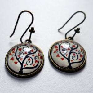 Boucles d'oreilles Arbre à coeurs rouges