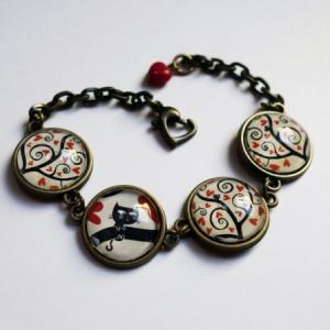 Bracelet Arbre à coeurs rouges