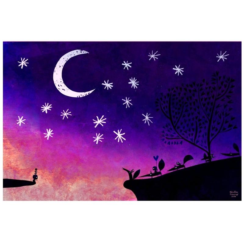 Affichette La nuit mauve