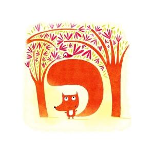Affichette Le renard et l'oiseau
