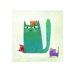 Affichette Le chat Urbain et ses petits