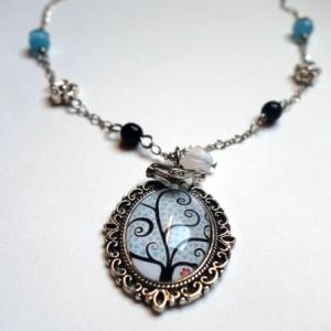 Collier vintage Arbre à coeurs bleus