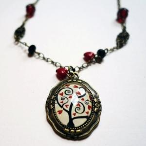 Collier vintage Arbre à coeurs rouges