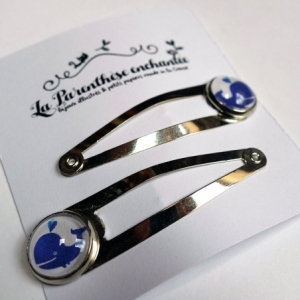 Barrettes clic-clac Baleine bleue