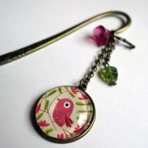 Marque-page Bel oiseau rose