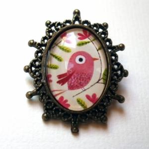 Broche Bel oiseau rose