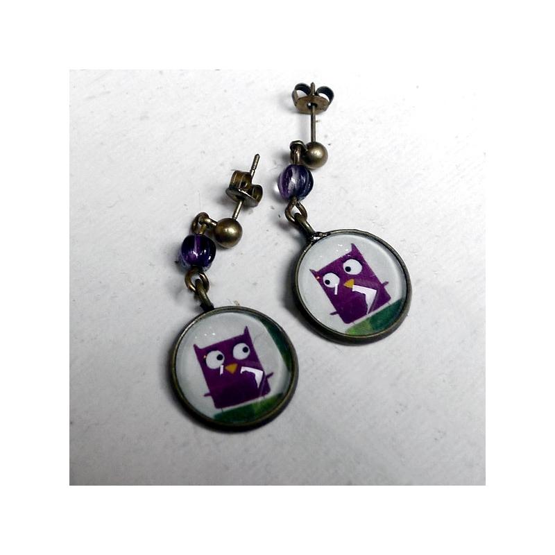 Boucles d'oreilles Chouette violette