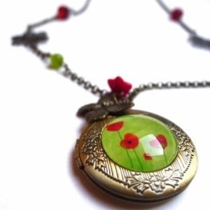 Collier secret Coquelicots verts