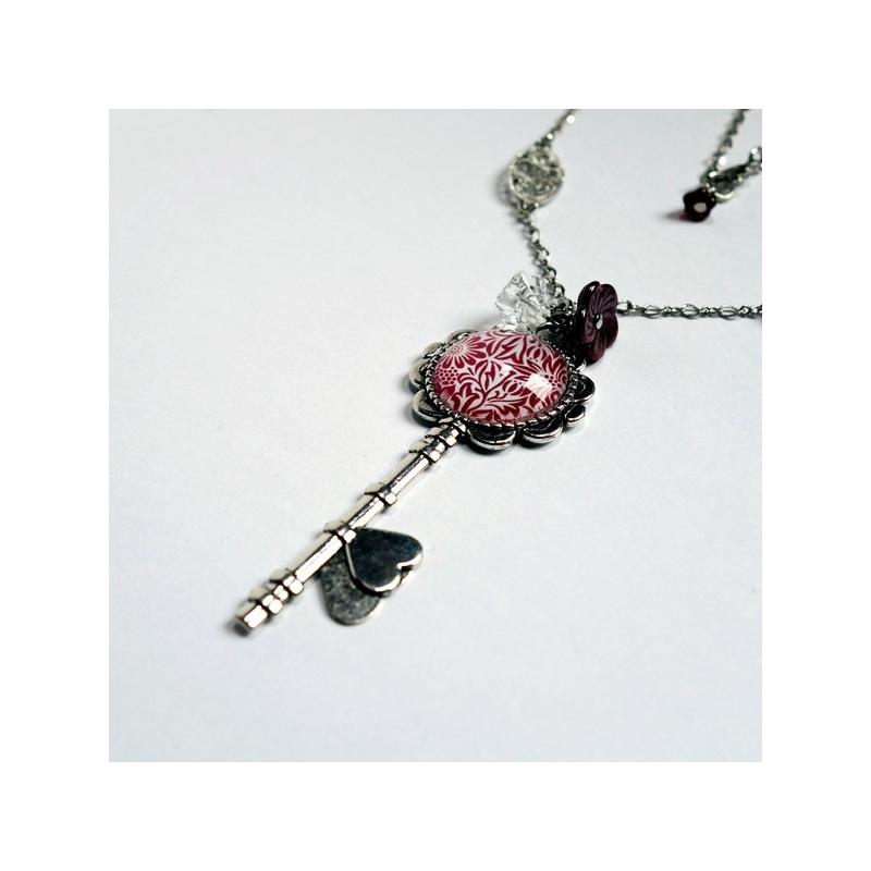 Collier clé Fleurs pourpres