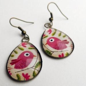 Boucles d'oreilles Le bel oiseau rose