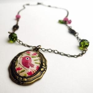 Collier vintage Le bel oiseau rose