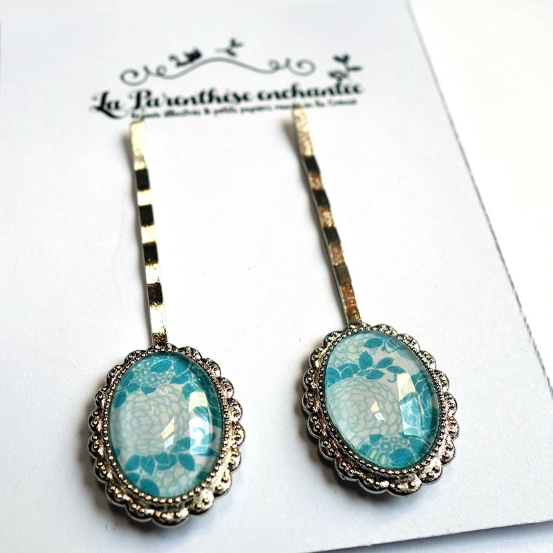 Barrettes Hortensias bleus