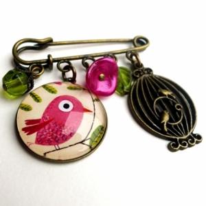 Broche Le bel oiseau rose