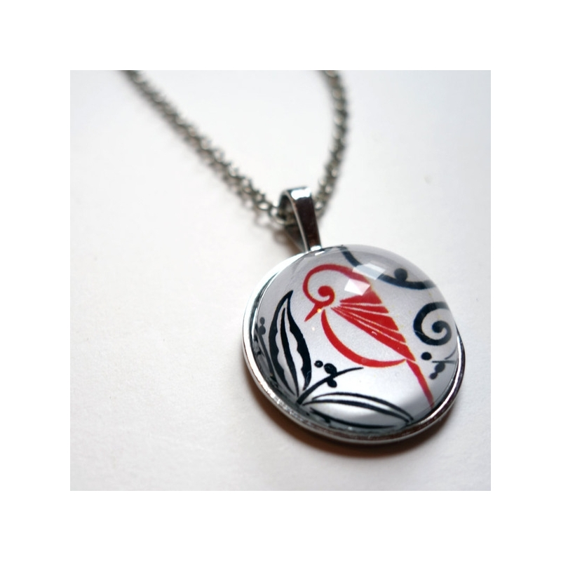 Collier rond Oiseau rouge