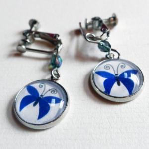 Clips d'oreilles Papillons bleus