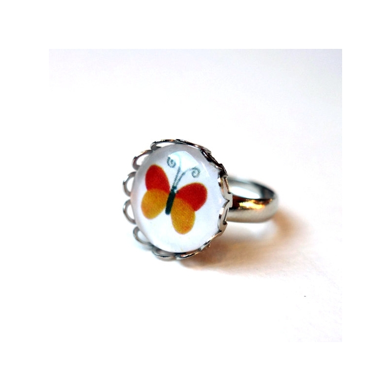 Bague enfant Papillon orange