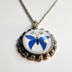 Collier enfant Papillon bleu