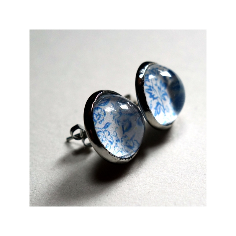 Boucles d'oreilles Roses bleues