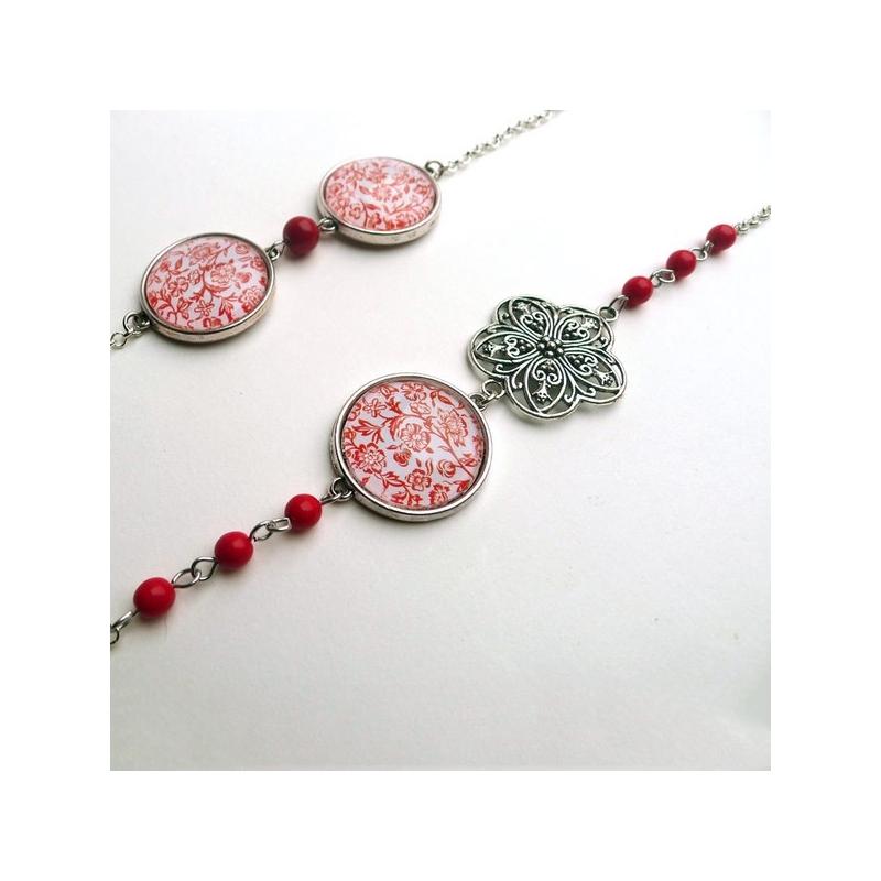 Sautoir Roses rouges