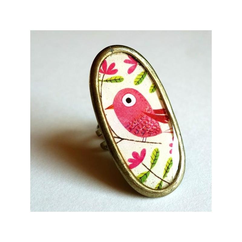 Bague longue Bel oiseau rose