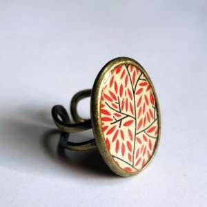 Bague Feuillage rouge