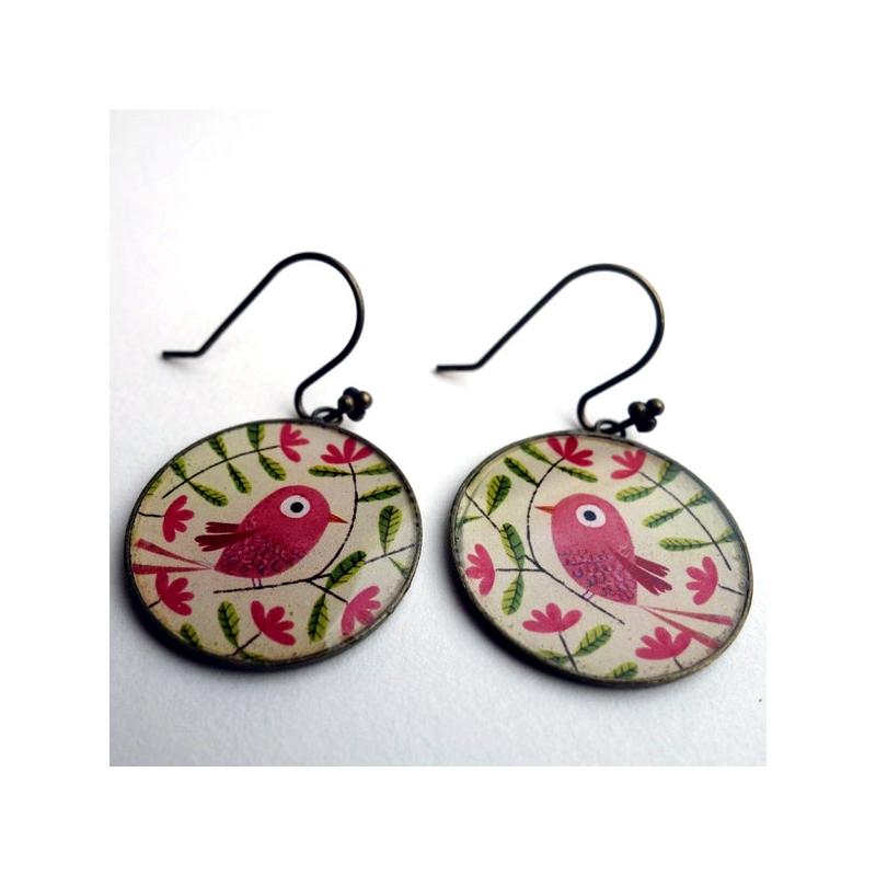 Boucles d'oreilles Bel oiseau rose