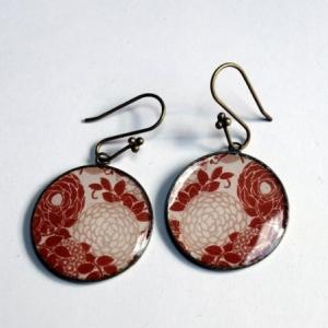 Boucles d'oreilles Hortensias bruns