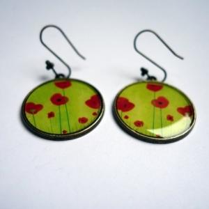 Boucles d'oreilles Coquelicots verts