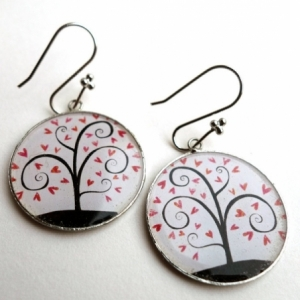 Boucles d'oreilles Arbre à coeurs roses