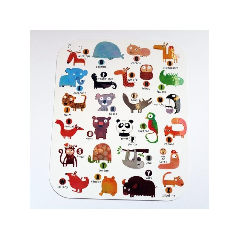 Carte d'art Abécédaire des animaux