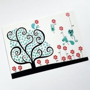 Carte postale Arbre à coeurs bleus