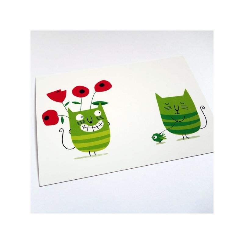 Carte postale Tiens des fleurs!