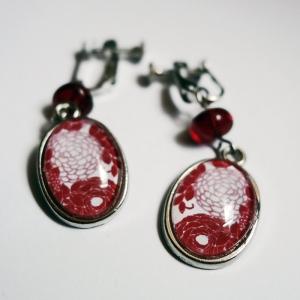 Boucles d'oreilles Hortensias rouges
