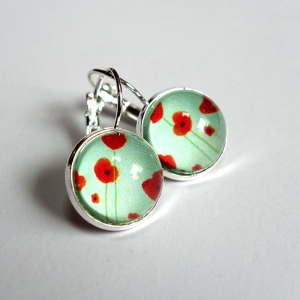 Earrings Blue poppies