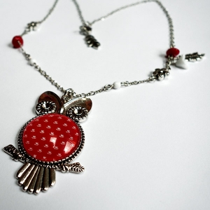 Owl necklace Vermilion