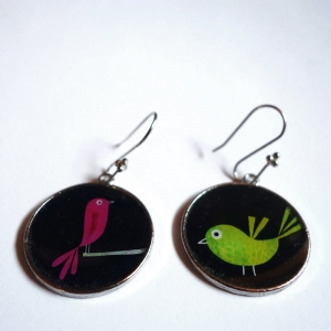 Earrings Green and pink polish birds