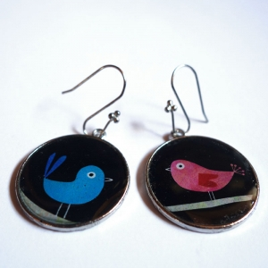 Earrings Blue and pink polish birds