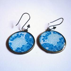Boucles d'oreilles Hortensias bleus