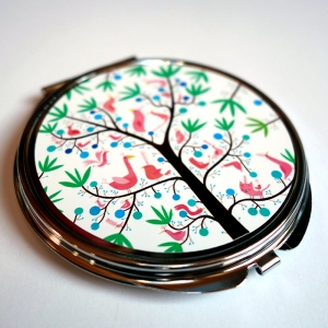 Pocket mirror The pink birds tree