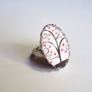 Ring Pink hearts tree