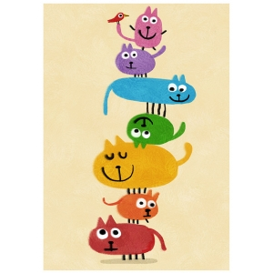 Affiche Les chats empilés