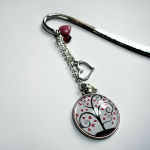 Bookmark Pink hearts tree