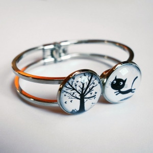 Double bracelet Theodule the cat and the hearts tree