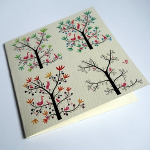 Card The seasons of the birds tree